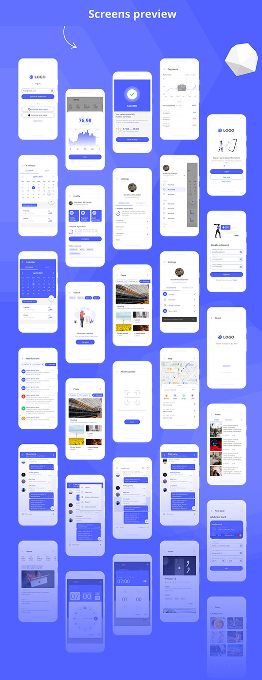 Blenda Free Mobile UI kit figma