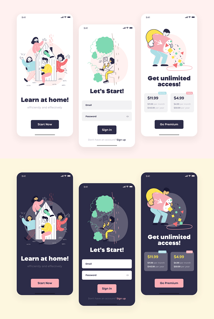 Design Courses Mobile App sketch free