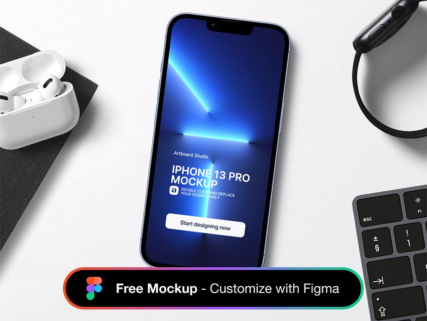 Free iPhone 13 Mockup Scene figma free download